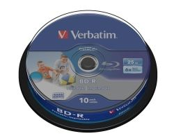 BD-R VERBATIM DATALIFE 25GB 6X WIDE INKJET PRINTABLE SPINDLE 10 43804