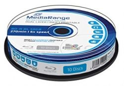 BD-R MEDIARANGE DUAL LAYER 50GB 6X CAKE 10 PRINTABLE MR509